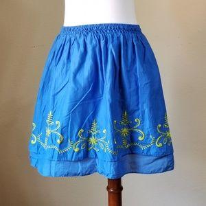Calypso Skirt Blue Sz XL Blue Gold Embroidery